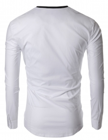 Модерна бяла риза без яка