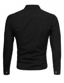 Мъжка черна риза с бели ревери