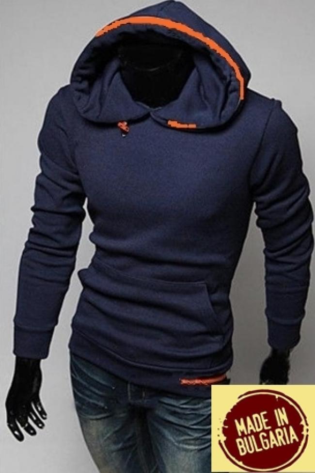 Мъжки суитчър със стилен дизайн син ТОП МОДЕЛ !