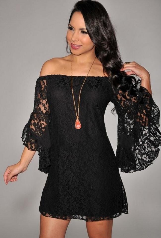 VIP рокля ! Черна дантелена рокля страхотен модел