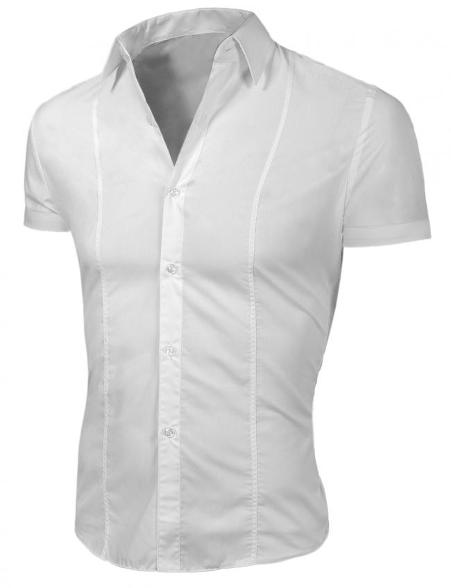 Стилна мъжка риза с къс ръкав Бяла