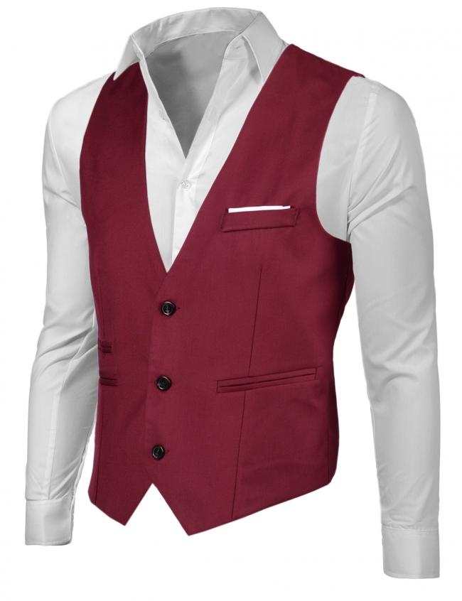 Спортно-елегантен мъжки елек цвят Бордо