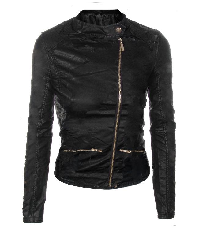 Дамско черно яке Еко-Кожа със закопчаване