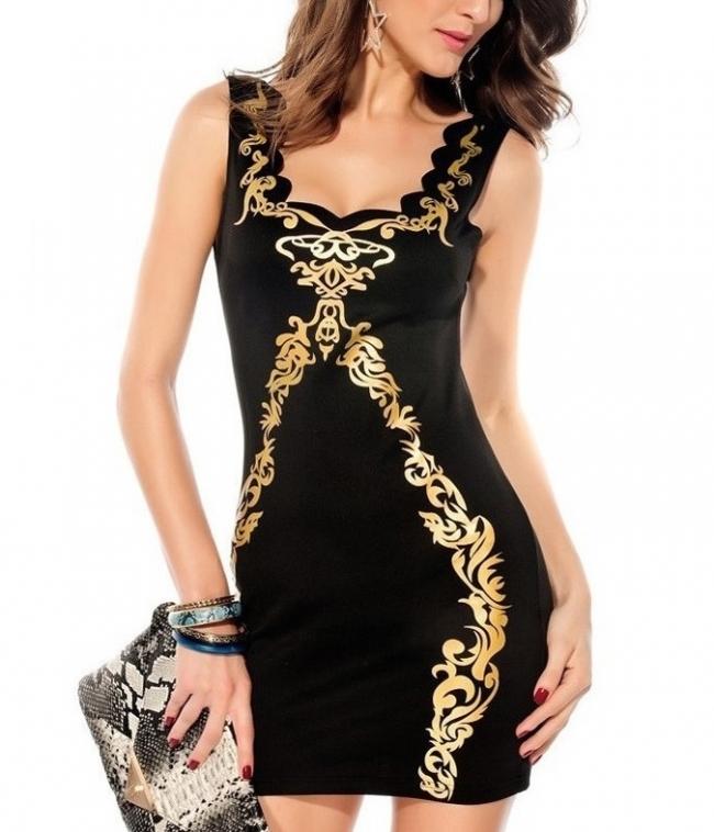 """Красива дамска рокля """"Еванте"""" със златисто"""