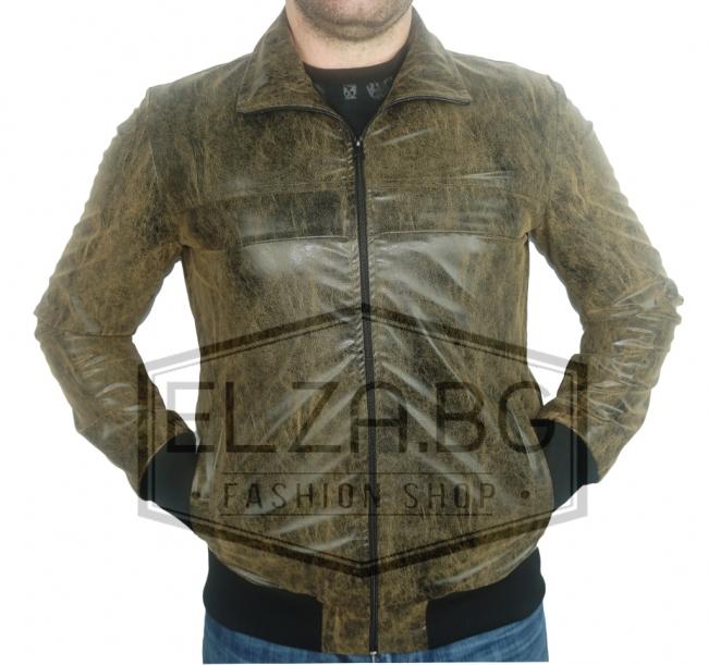 """Колекция кожени якета пролетно-есенно яке """"Стемо"""" - Кафяво"""