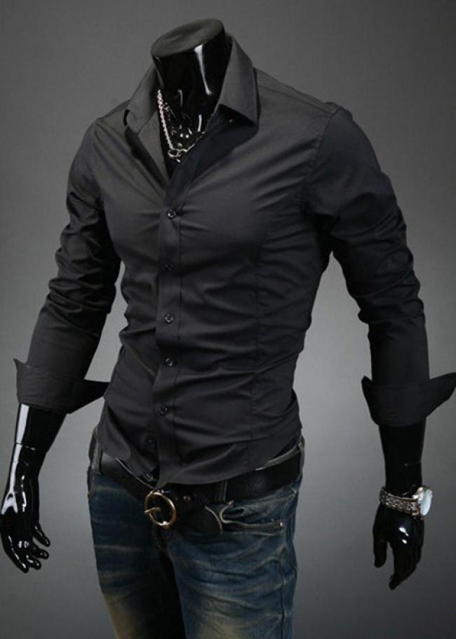 Спорно-елегантна мъжка риза черна