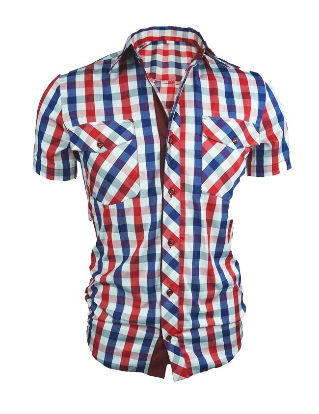 Карирана мъжка риза с къс ръкав и елегантна визия - червена