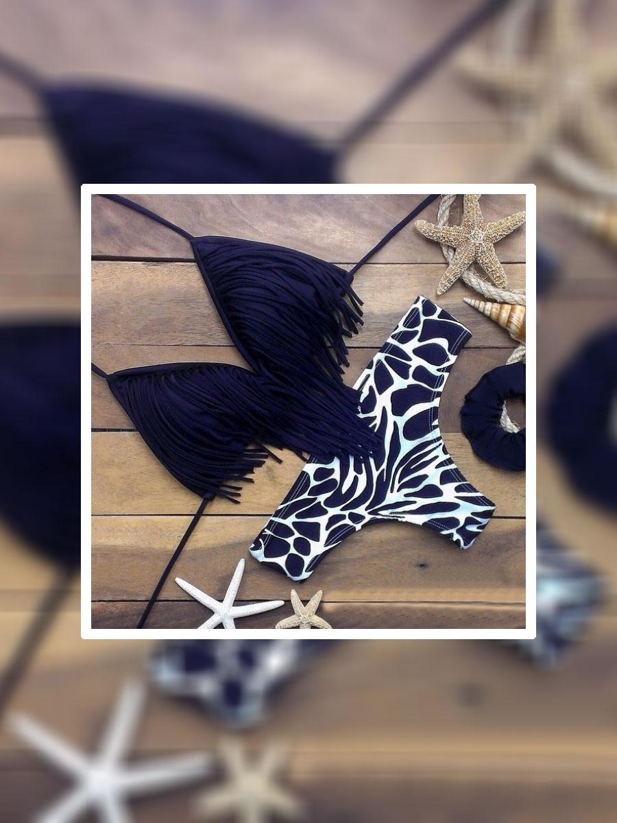 Нов модел бански на черни ресни с долнище зебра