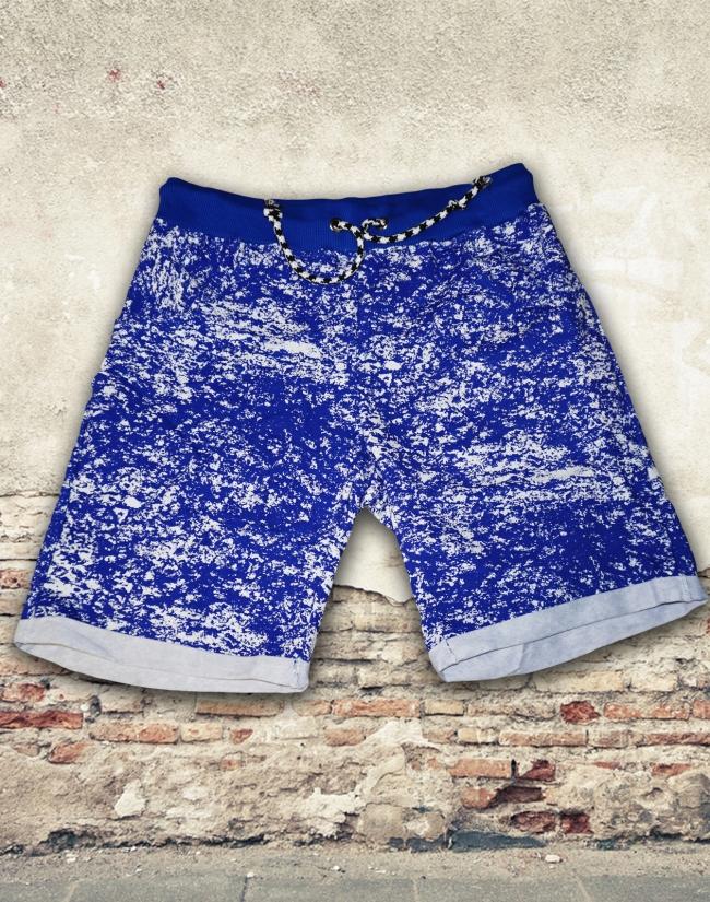 Къси памучни панталони с модерен принт - сини
