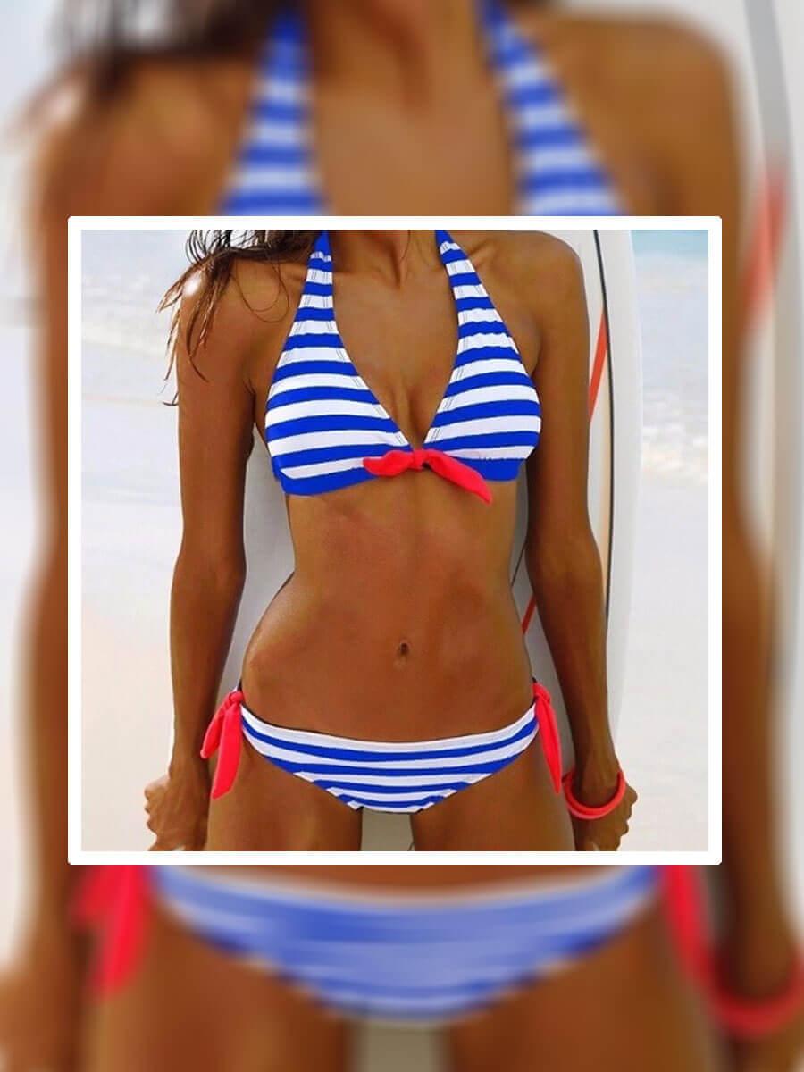 НОВ Модел дамски бански костюм в синьо-бяло райе