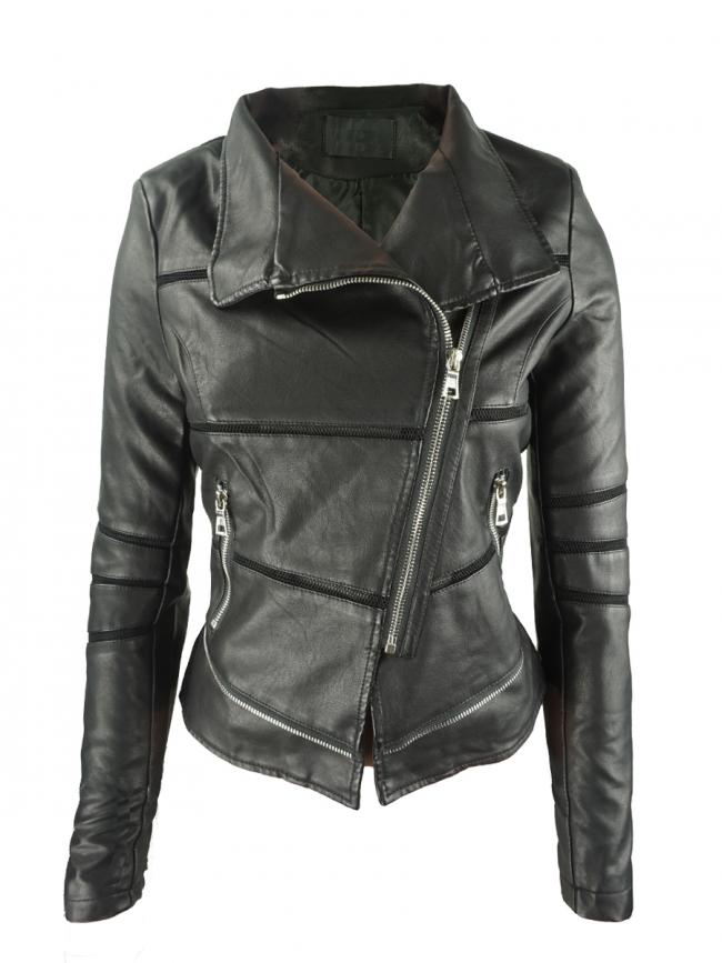 Спортно дамско яке от еко кожа - черно