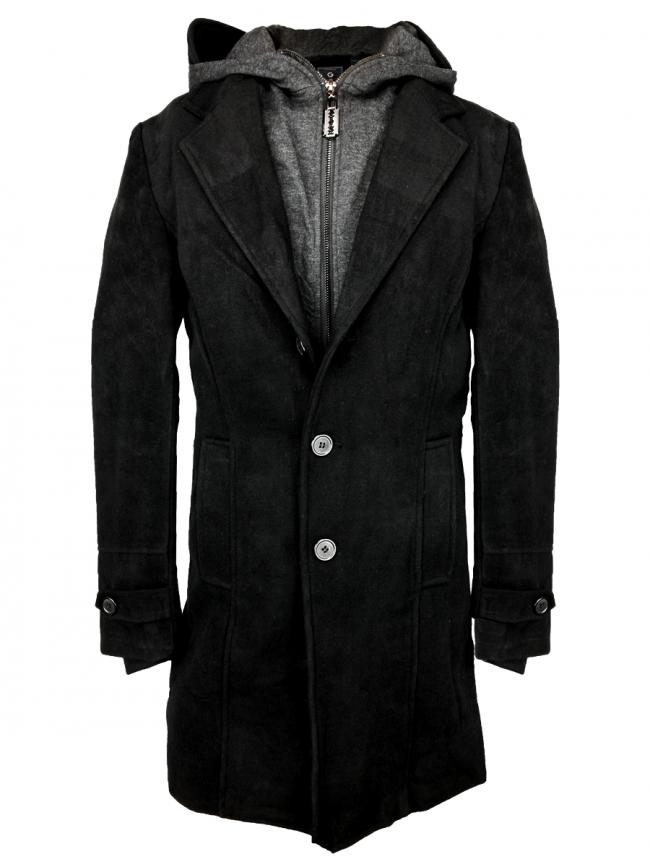 """Мъжки дълъг балтон със сваляща се качулка """"Бруно"""" - черен"""