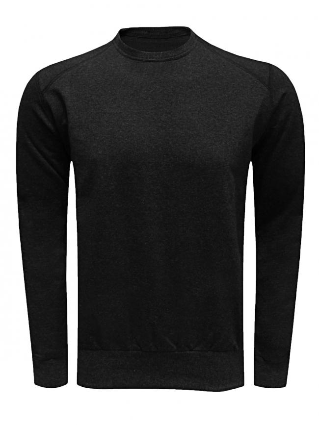 Памучна мъжка блуза с дълъг ръкав - черна