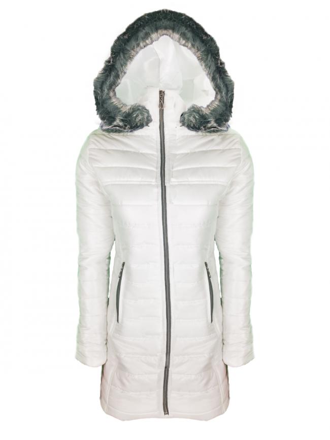 """Дълго дамско яке със сваляема качулка с пух """"Елви"""" - бяло"""