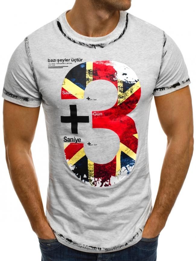 """Мъжка тениска """"+3"""" - сива"""
