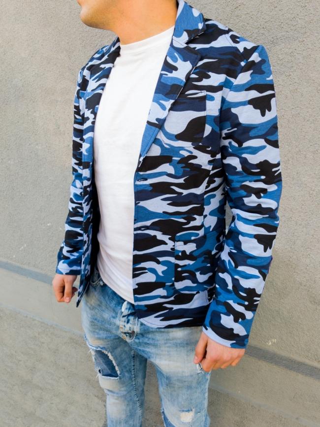 Спортно елегантно мъжко сако с камуфлажен десен - синьо
