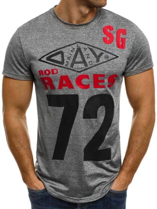 """Мъжка тениска """"Races"""" - тъмно сива"""