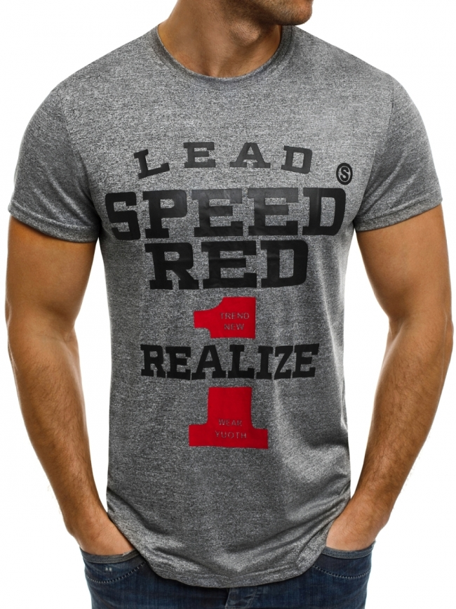 """Мъжка тениска """"Speed"""" - тъмно сива"""