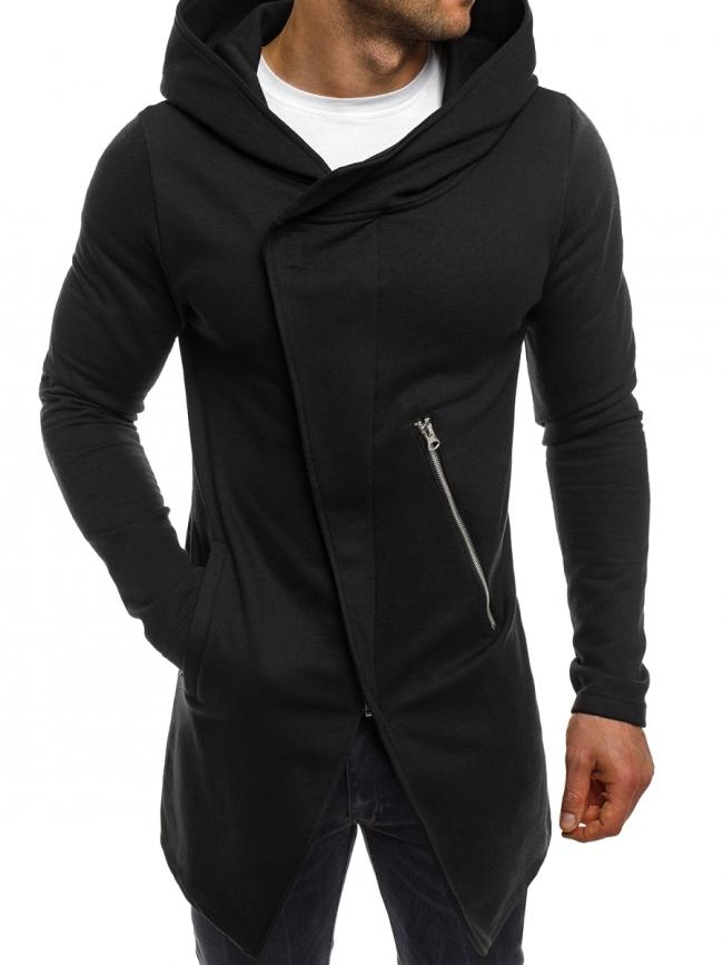 Стилно мъжко горнище с издължен дизайн - черно