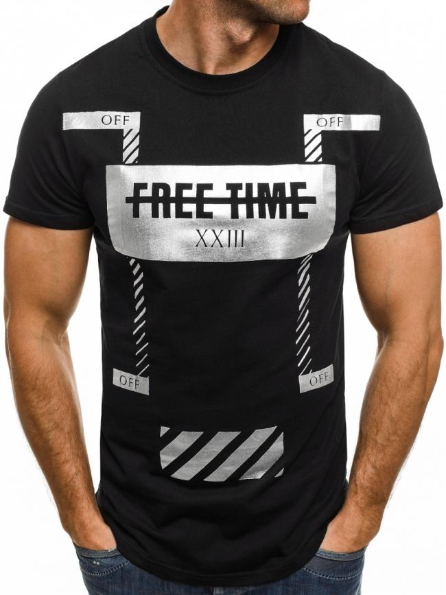 Мъжка тениска Free Time - черна