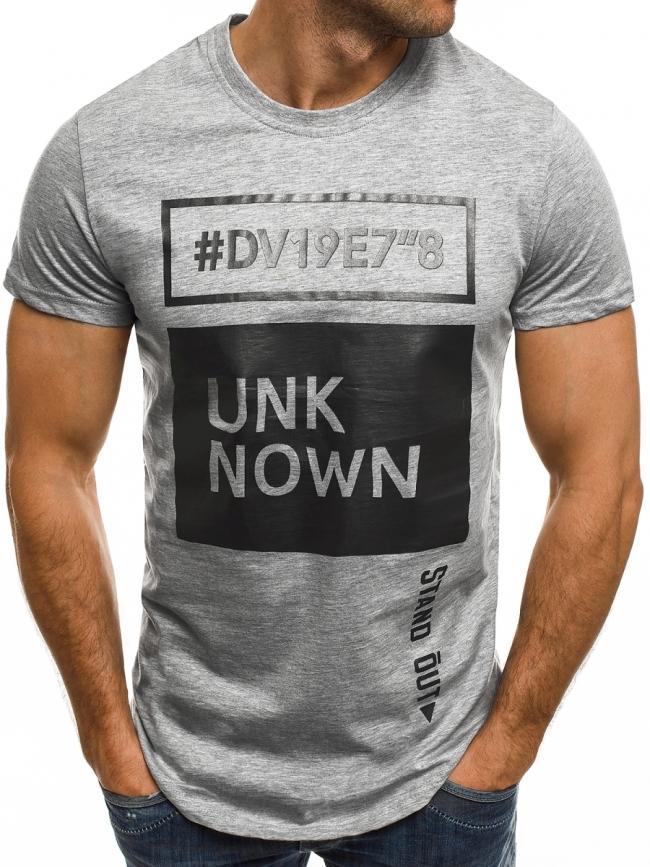 """Мъжка тениска """"Unknown"""" - сива"""