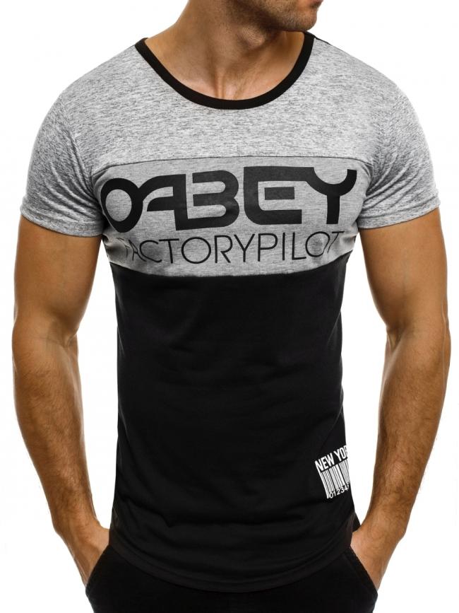 """Мъжка тениска """"OABEY"""" - черна"""