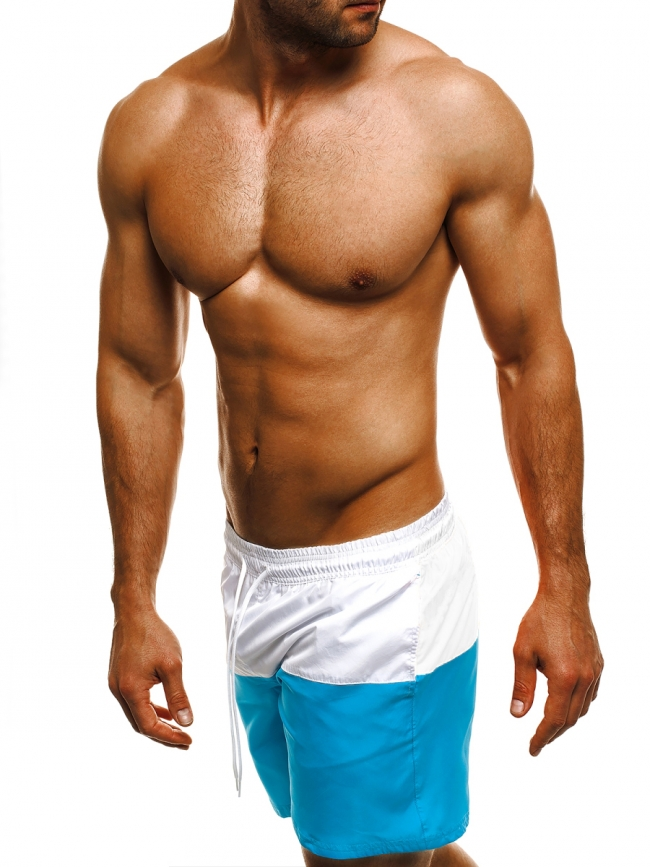 Двуцветни мъжки шорти лято 2017 - синьо и бяло