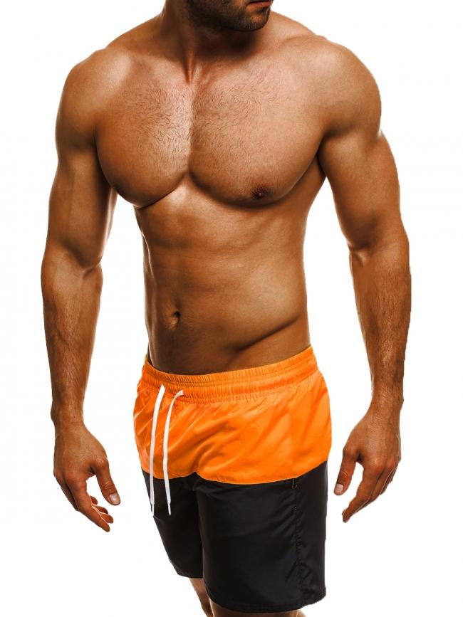 Двуцветни мъжки шорти лято 2017 - оранжево и черно