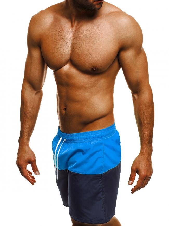 Двуцветни мъжки шорти лято 2017 - синьо и тъмно синьо