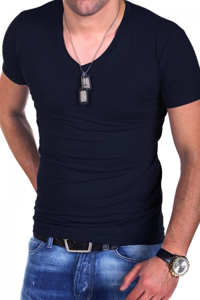 Страхотна тъмно синя V-Neck лятна тениска