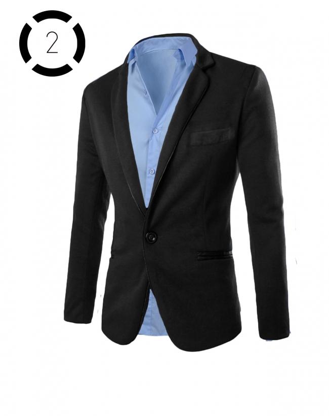 Комплект черно сако със светло синя риза