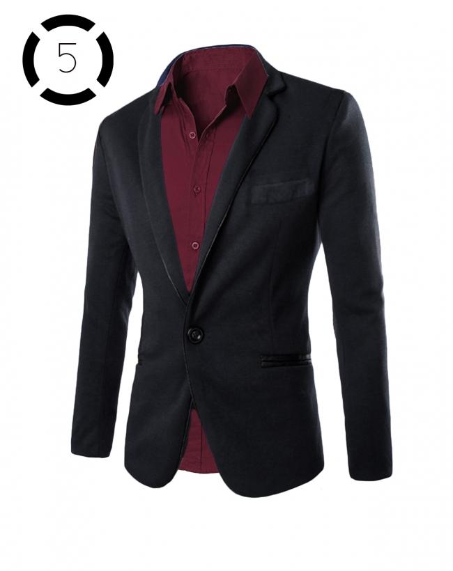Комплект черно сако и вталена мъжка риза цвят бордо