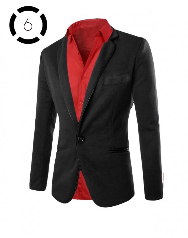 Комплект черно сако и искрящо червена риза втален модел