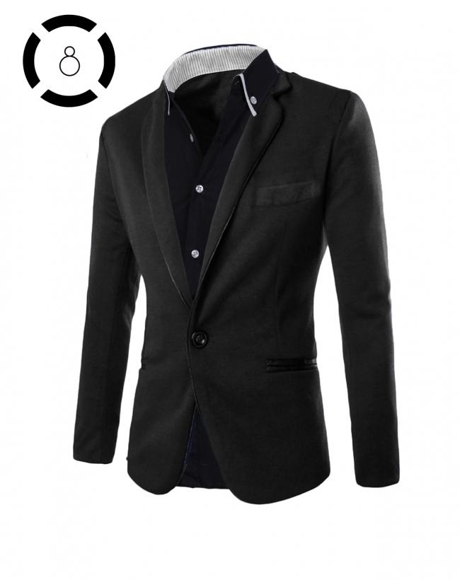 Комплект черно сако и черна риза с бели ревери
