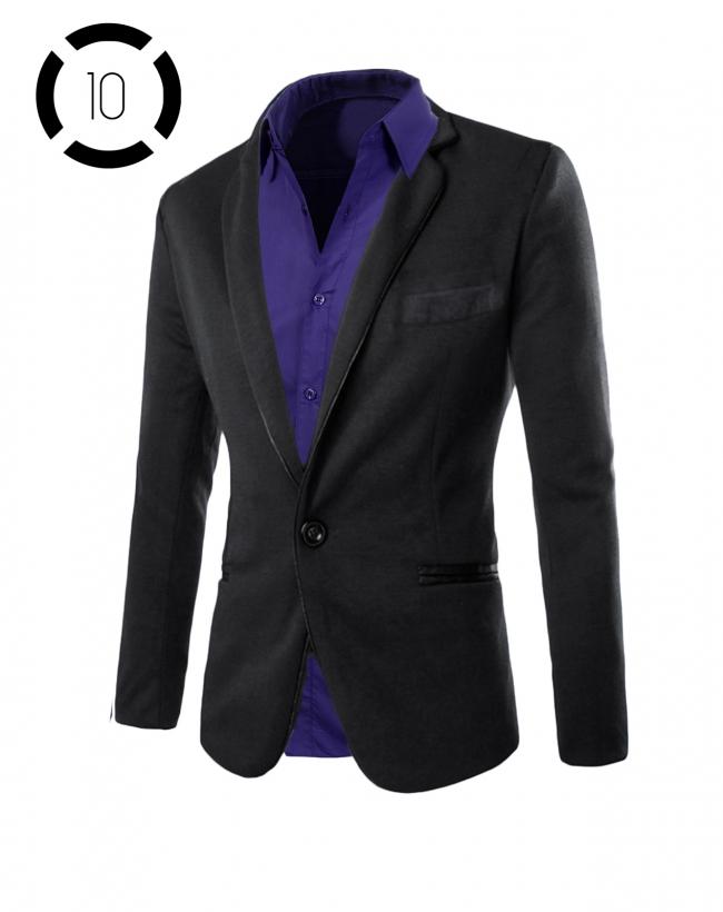 Комплект черно сако и луксозна лилава риза втален модел