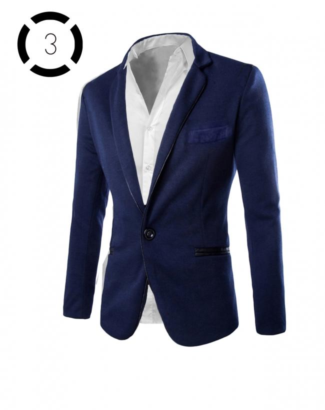 Комплект синьо сако и втален модел класическа бяла риза