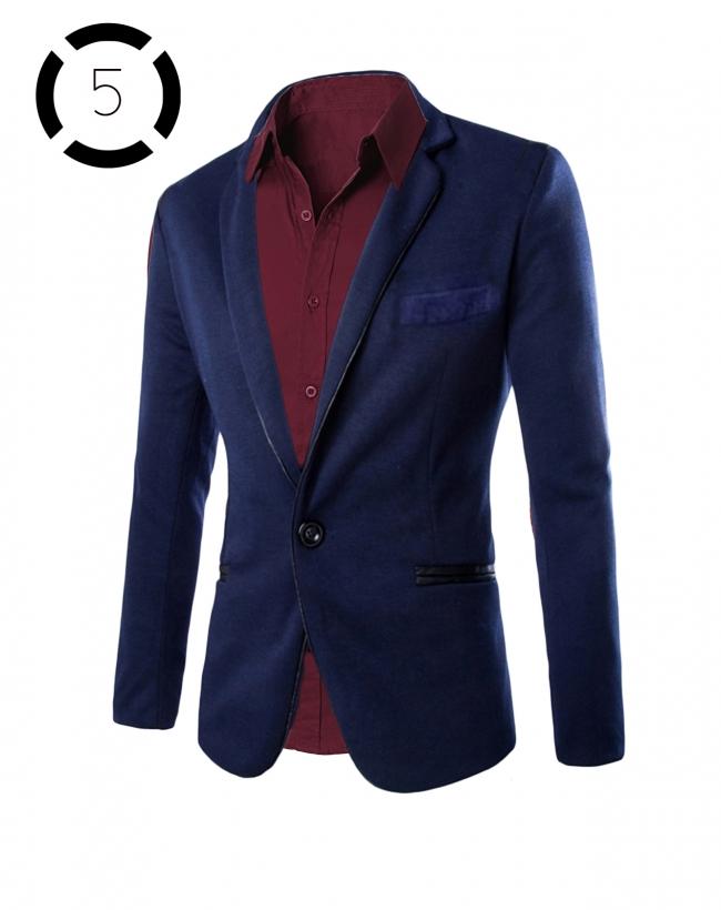 Комплект синьо сако и вталена мъжка риза цвят бордо