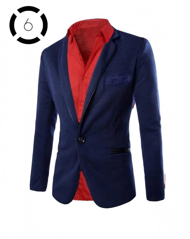 Комплект синьо сако и искрящо червена риза втален модел