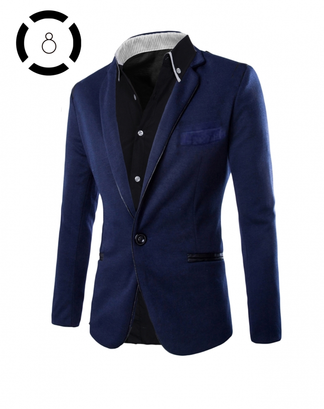 Комплект синьо сако и черна риза с бели ревери