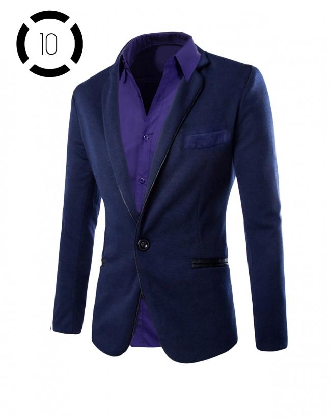 Комплект синьо сако и луксозна лилава риза втален модел
