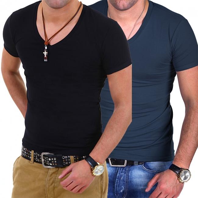ТОП ОФЕРТА ! 2 броя на цена от 24.90лв Мъжки тениски с деколте