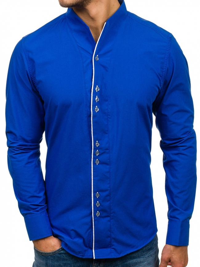 Нов модел мъжка риза с по три копчета - кралско синьо