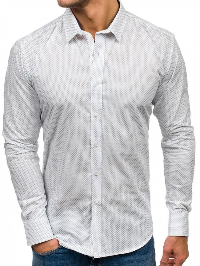 Мъжка риза с десен на фини точки - бяла