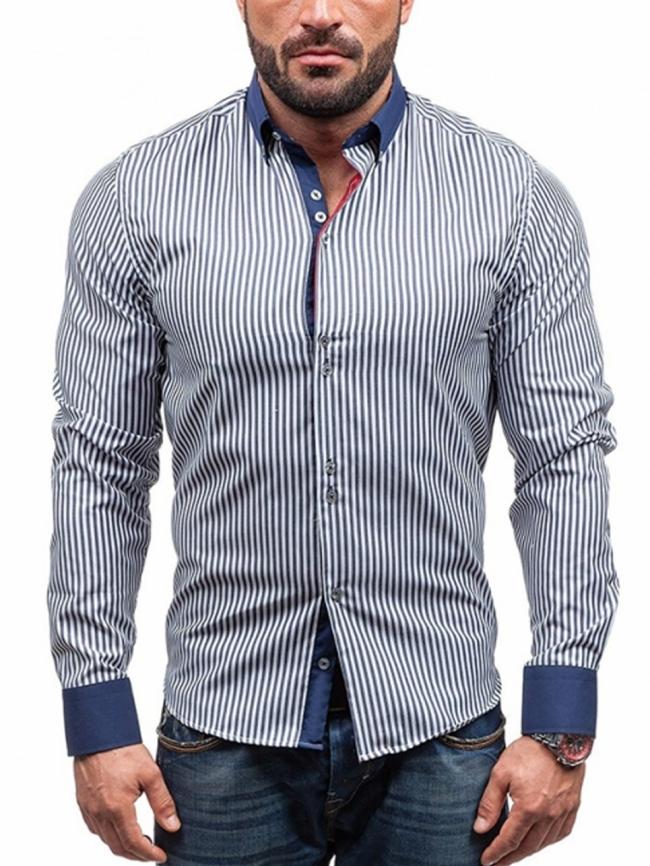 Нов модел карирана мъжка риза - синя