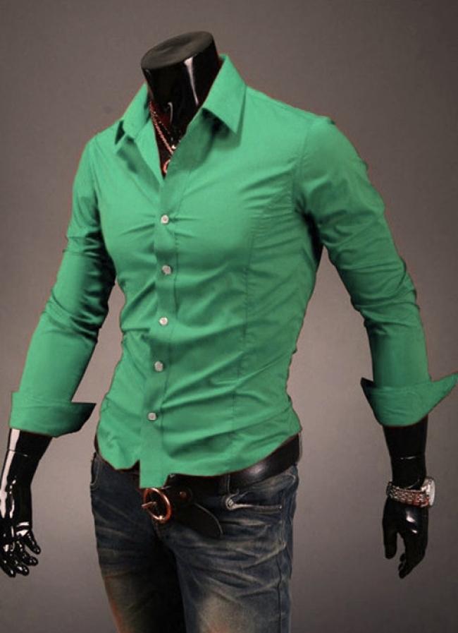 Грахово зелена вталена мъжка риза