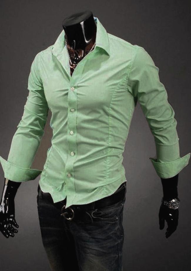 Втален модел мъжка риза - Резедаво