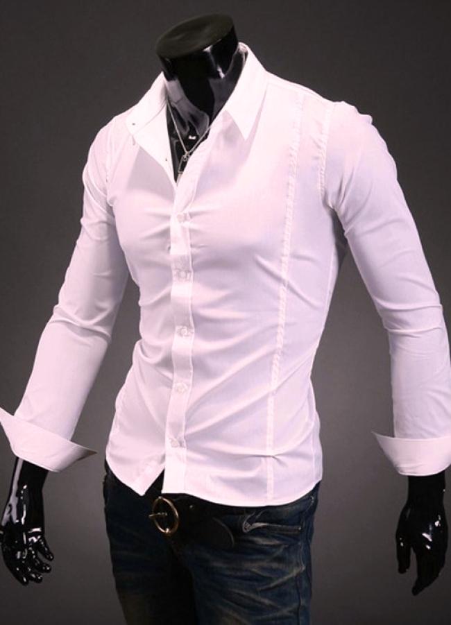 Изчистена бледо розова Slim-fit мъжка риза