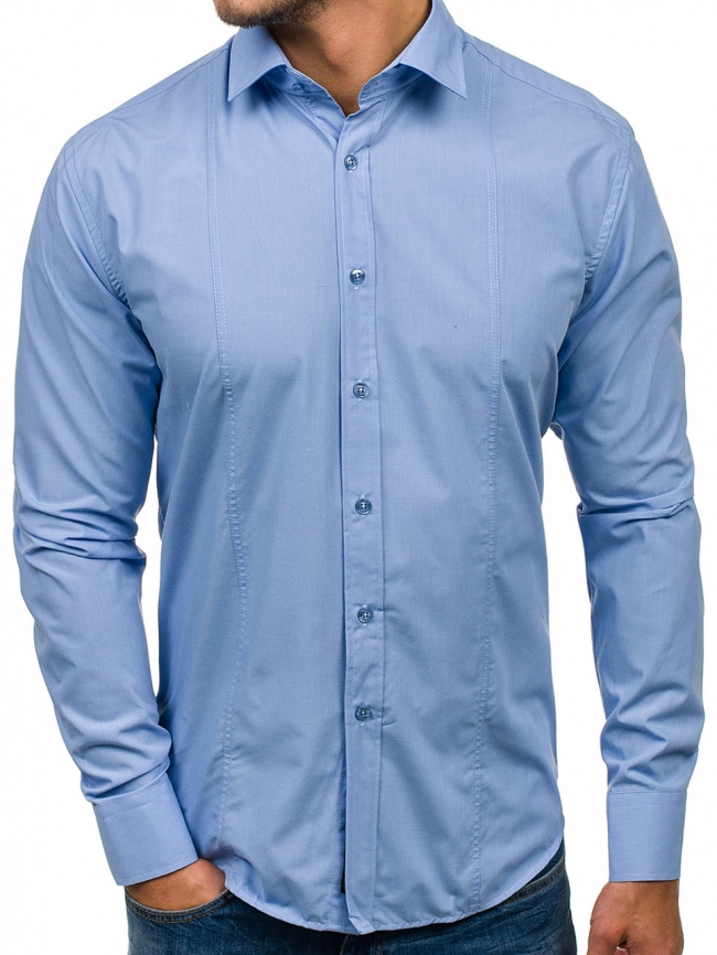 Нов модел мъжка риза Светло синя 2019