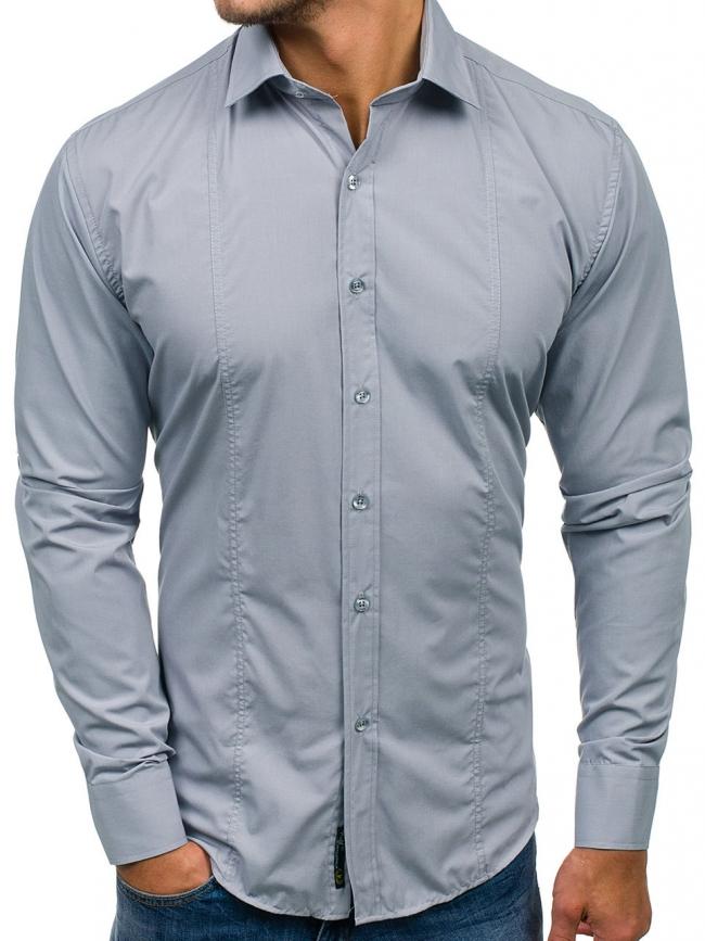 Нов модел мъжка риза Сива 2018