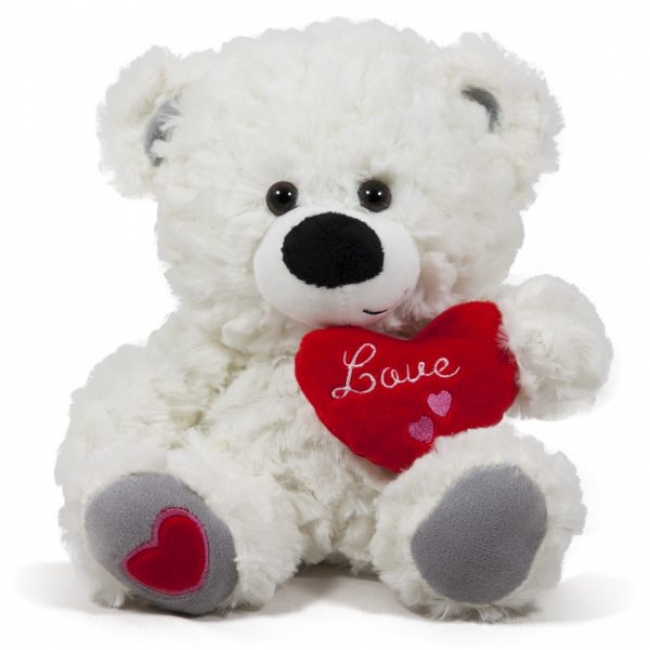 Мече със сърце Cute - Бяло 24см